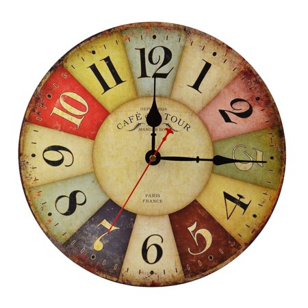 12 Inch Vintage Colorful France Paris French Country Tuscan Style Arabic Numerals Design Silent Wall Clock (Tuscan Style Clock)