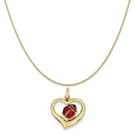 Ladybug Teen Necklace (14k Yellow Gold Enameled Ladybug in Heart Charm on 14K Yellow Gold Rope Chain Necklace, 20