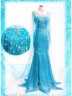 Sexy Snow Elsa Queen Women Dress Cosplay Party Fancy Gown Dresses women maxi dress blue long dress sexy women clothing