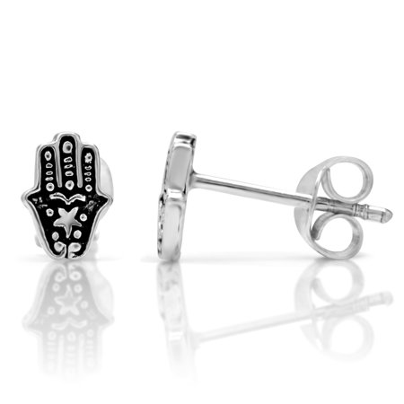 Chuvora 925 Oxidized Sterling Silver Tiny Hamsa Hand of Fatima 8 mm Stud Earrings