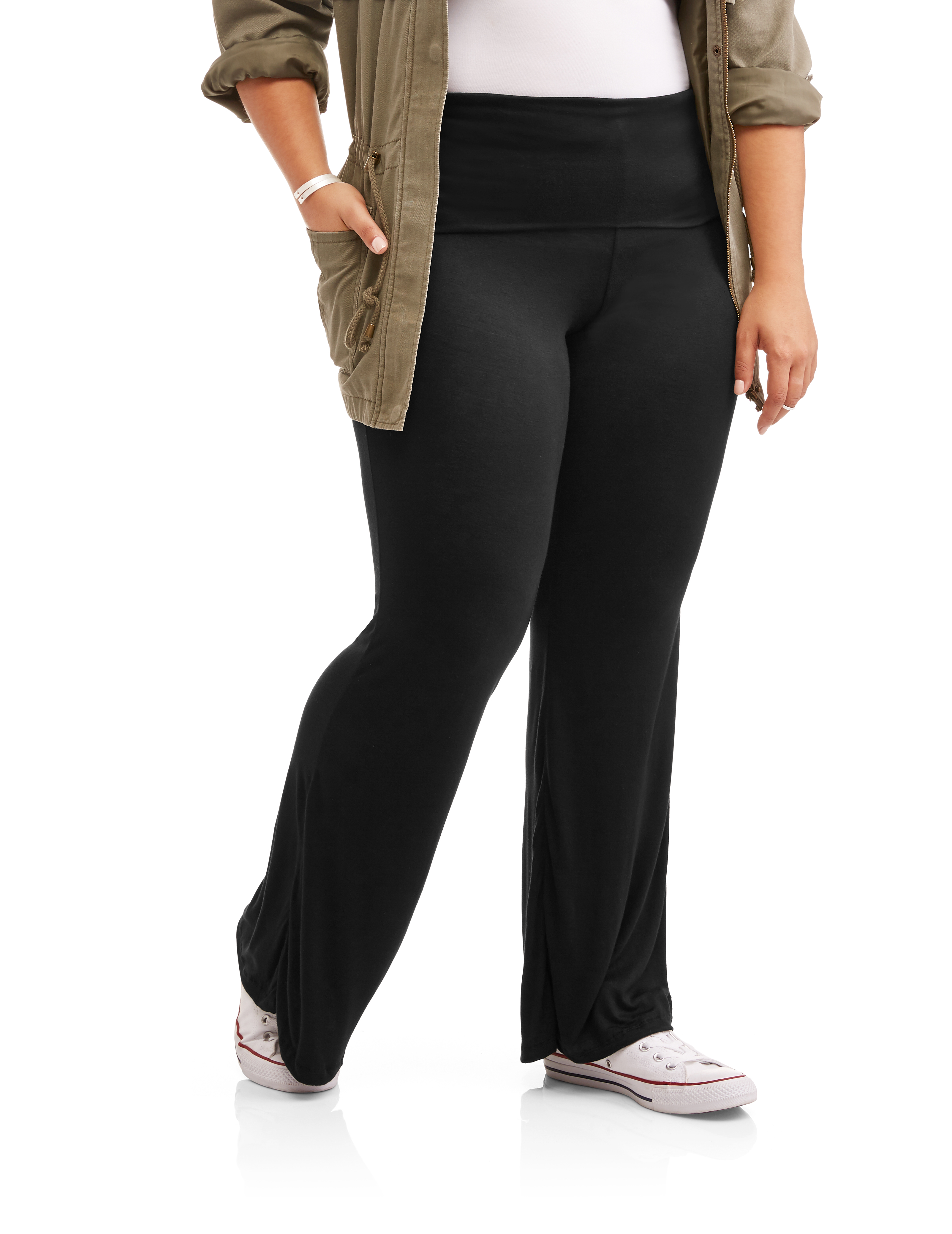 Eye Candy Juniors' Plus Knit Flared Pants With Foldover Waistband