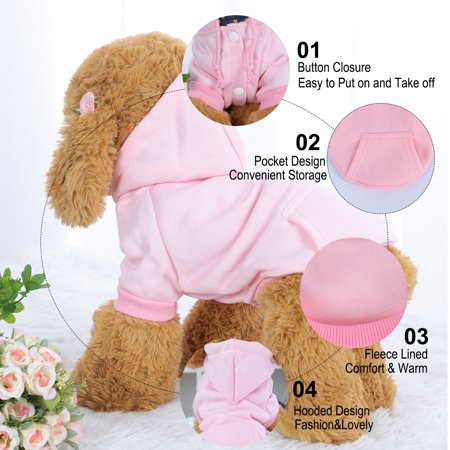 Polyester Dog Sweatshirt Hooded Hoody Pet Winter Clothes Coat w Pocket Pink S - image 2 of 7
