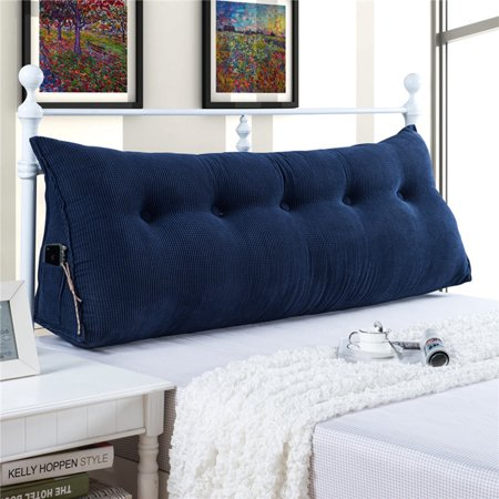 Comfy Bed Cushion - Sofa Bed Large Filled Triangular Wedge Cushion Bed Backrest Positioning Support Pillow Reading Pillow Office Lumbar Pad with Removable Cover Deep Blue 47 Inches
