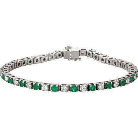 Platinum Emerald & 2 3/8 CTW Diamond Bracelet