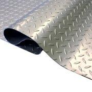 FlooringInc Standard Grade 5ftx17ft Diamond Pattern Nitro Garage Flooring Roll Out Protecting Mats, Stainless Steel