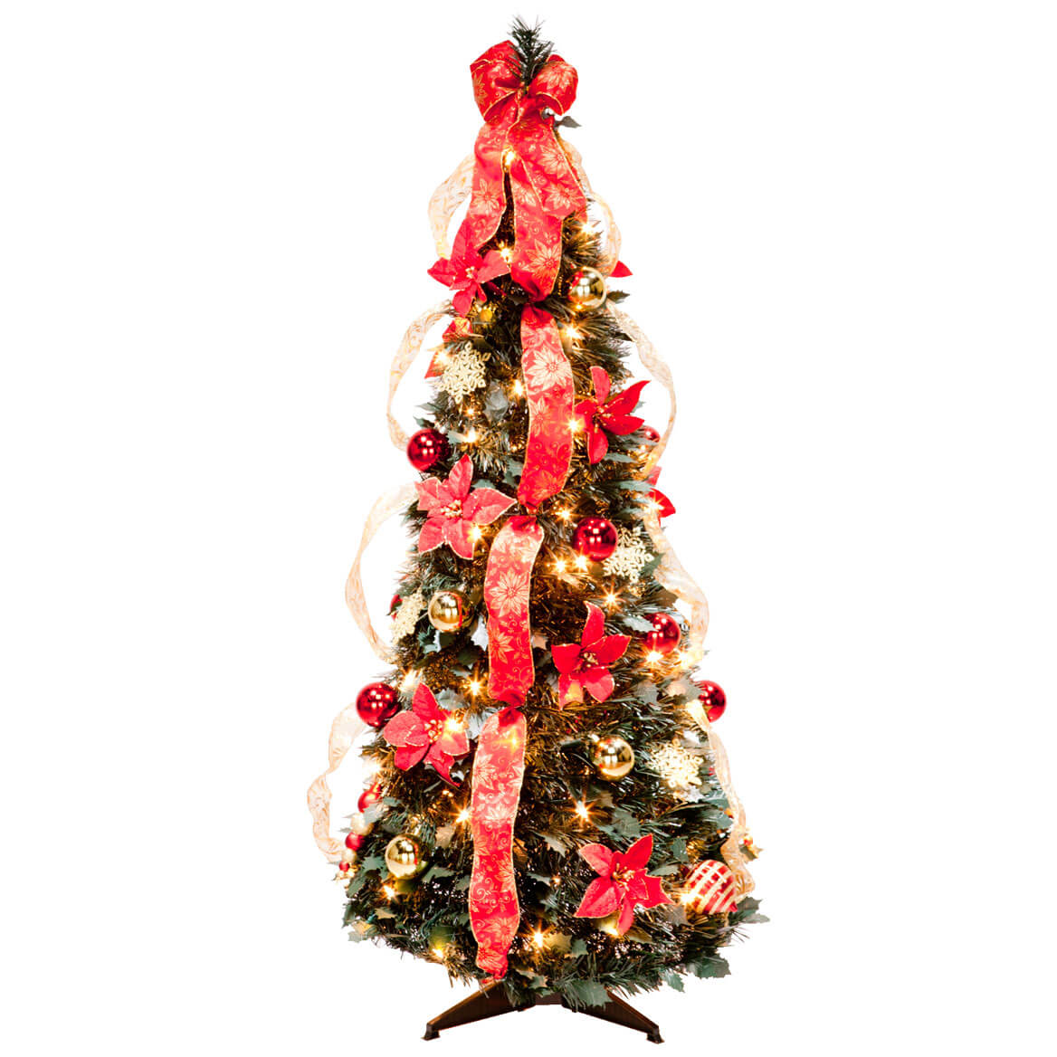 4' Red Poinsettia Pull-Up Tree by Holiday PeakTM