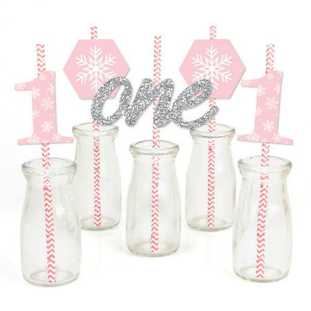Pink ONEderland - Paper Straw Decor - Holiday Snowflake Winter Wonderland Birthday Party Striped Decorative Straws-24 - Holiday Straws