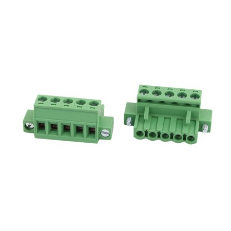 25Pcs AC 300V 15A 5.0mm Pitch 5P Terminal Block Wire Connection for PCB Mounting - image 2 de 2