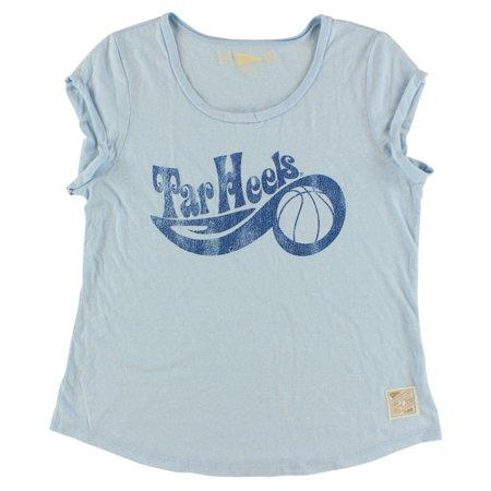 Distant Replays Womens North Carolina Tar Heels College Roll Sleeve T Shirt Light Blue