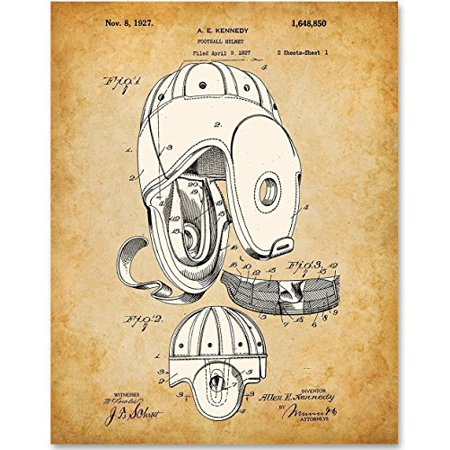 Football Helmet Patent - 11x14 Unframed Patent Print - Great Gift for Football Fans, Football Players Boy's Room - Little Boy Football Player