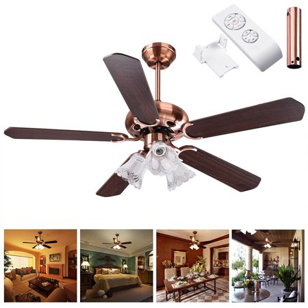 Yescom 48   52Inches 5 Blades Ceiling Fan With Light Kit Antique Copper Bronze Reversible W  Remote Control