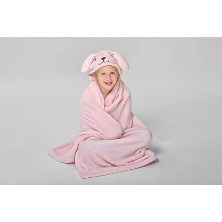 Pink Bunny Hooded Throw for Kids by Down Home