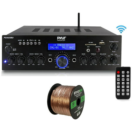 Pyle PDA6BU Amplifier Receiver Stereo, Bluetooth, FM Radio, USB Flash Reader, Aux input LCD Display, 200 Watt, With Enrock Strong Quality 50ft 16g Speaker Wire for Car Audio & Home Audio Speakers