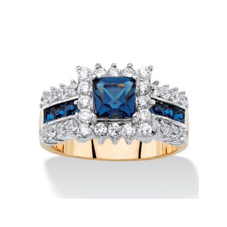 Movement Jewellery Clasp Sapphire Crystal (.93 TCW Princess-Cut Sapphire Blue Crystal and Cubic Zirconia Halo Cocktail Ring 14k Yellow)
