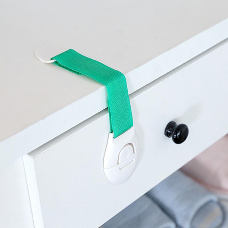 JLONG 1Pcs Kids Safety Locks Multi-functional Strap Locks For Latches Door Cupboard Cabinet Fridge Drawer, Green