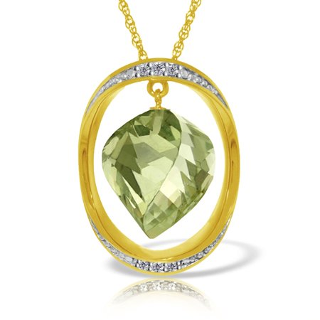 Briolette Natural (ALARRI 14K Solid Gold Necklace w/ Natural Twisted Briolette Green Amethyst & Diamond with 20 Inch Chain Length. )