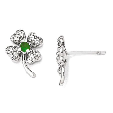 ICE CARATS 925 Sterling Silver Glass Simulated Green Emerald Cubic Zirconia Cz 4 Leaf Clover Post Stud Earrings Flower Gardening Good Luck Fine Jewelry Ideal Gifts For Women Gift Set From Heart
