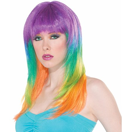 Womens Club Candy Long Straight Rainbow Prism Costume Wig - Costume Wigs Women