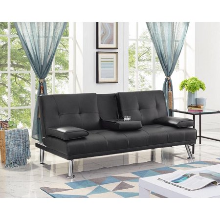 (Naomi Home Futon Sofa Bed with Armrest, Multiple Colors)