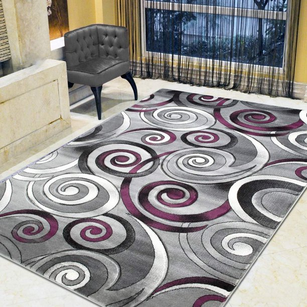 Spiral Swirls Modern Contemporary Hand Carved Area Rug Silver Purple Gray Black Walmart Com Walmart Com