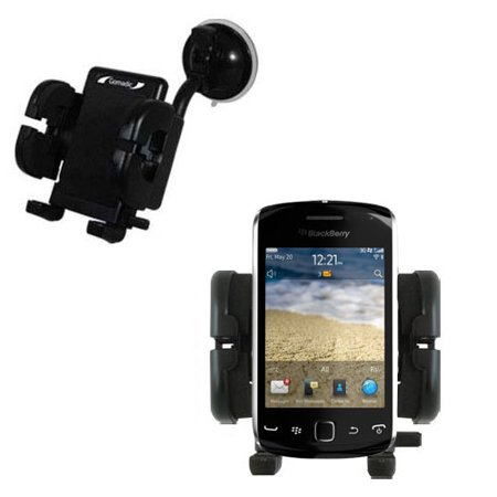 Gomadic Brand Flexible Car Auto Windshield Holder Mount designed for the Blackberry Curve Touch 9380 - Gooseneck Suction Cup Style Cradle