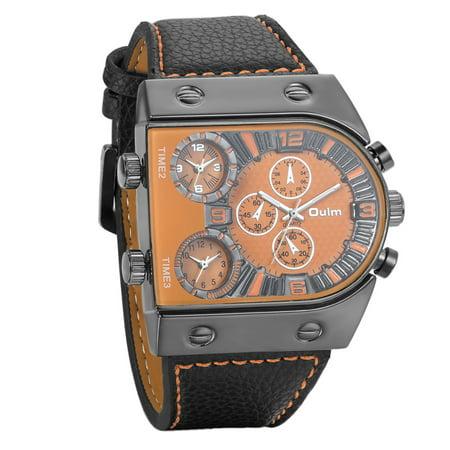 Mens Analog Quartz Wrist Watch Oversize Orange Dial 3 Time Zone Display Military Army Pu Leather Strap Sport Watch Gift