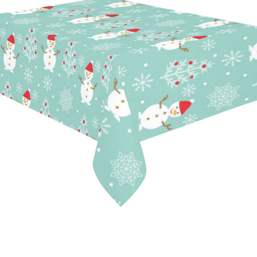 Mypop Merry Christmas Snowflakes Cotton Linen Tablecloth