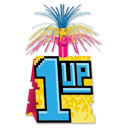"Club Pack of 12 Retro Neon ""1-UP"" 8-Bit with Tinsel Decorative Party Centerpiece 13"