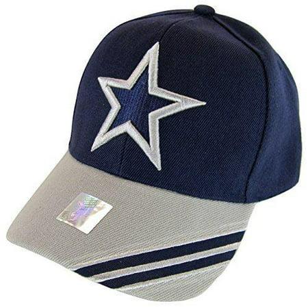 Dallas Texas Men's Large Star Double Stripe Adjustable Baseball Cap (Navy/Gray) - Double Wide Dallas Halloween