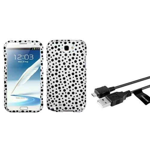 Insten Black Polka Dots Hard Case+3FT USB Cord Cable For Samsung Galaxy Note 2 II