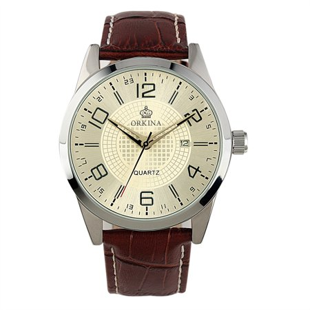 Movement Brown Dial (White Dial Simple Date Display Mens Watch Quartz Movement Brown Leather Strap )