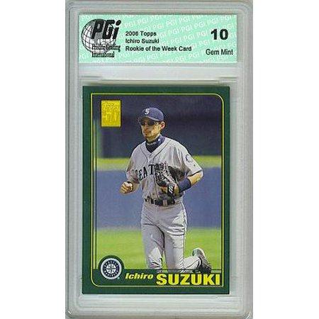 Ichiro Suzuki Topps Rookie of the Week Card PGI - 2001 Ichiro Suzuki Rookie Card