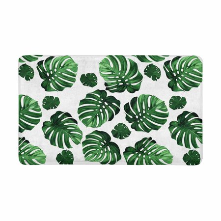 MKHERT Green Tropical Palm Monstera Leaves Hawaiian Jungle Beach Theme Doormat Rug Home Decor Floor Mat Bath Mat 30x18 inch