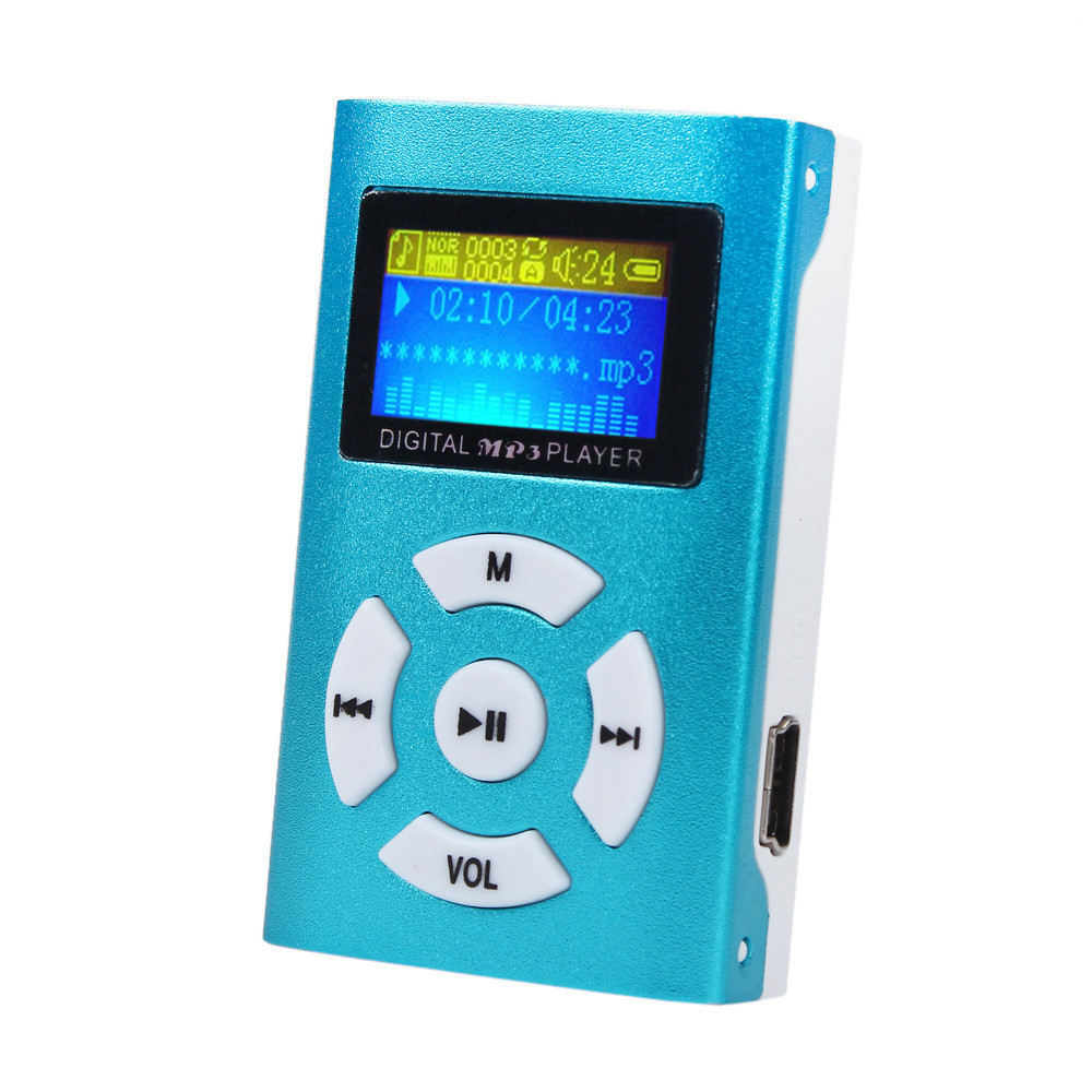 USB Mini MP3 Player LCD Screen Support 32GB Micro SD TF Card Blue