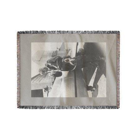 Howard Hughes Pilot Boarding Plane in Full Uniform - Vintage Photograph (60x80 Woven Chenille Yarn Blanket) (Pilot Uniform)