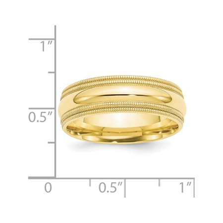 USA - 10k Yellow Gold 7mm Double Milgrain Comfort Fit Band Size 9 - image 2 of 3