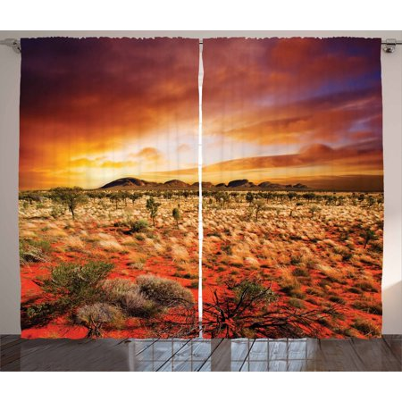 Desert Curtains 2 Panels Set, Sunset over Central Australian Landscape Dreamy Dramatic Sky Scenic Nature, Window Drapes for Living Room Bedroom, 108W X 63L Inches, Orange Yellow Coral, by Ambesonne