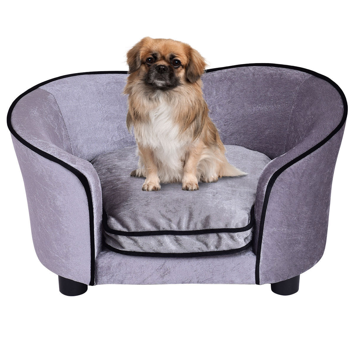 Costway Pet Lounge Sofa Dog Puppy Bed Soft Warm Ultra Plush Snuggle Cushion Gray
