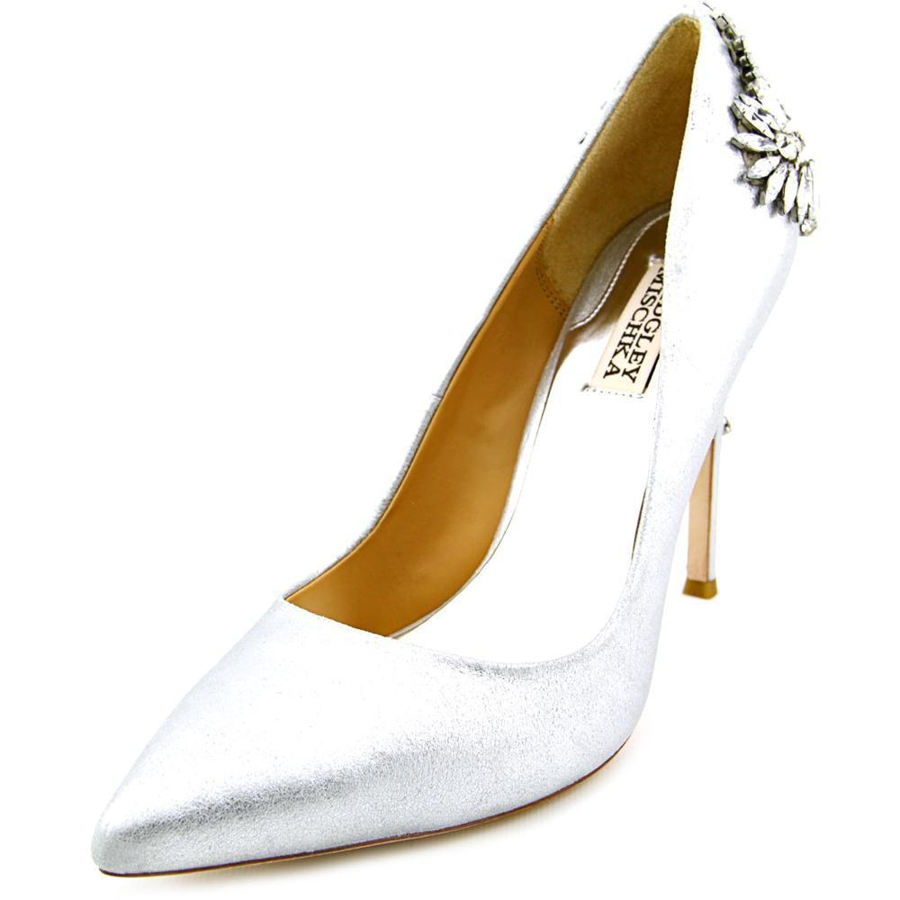 Badgley Mischka Poetry Women  Pointed Toe Leather Silver ...