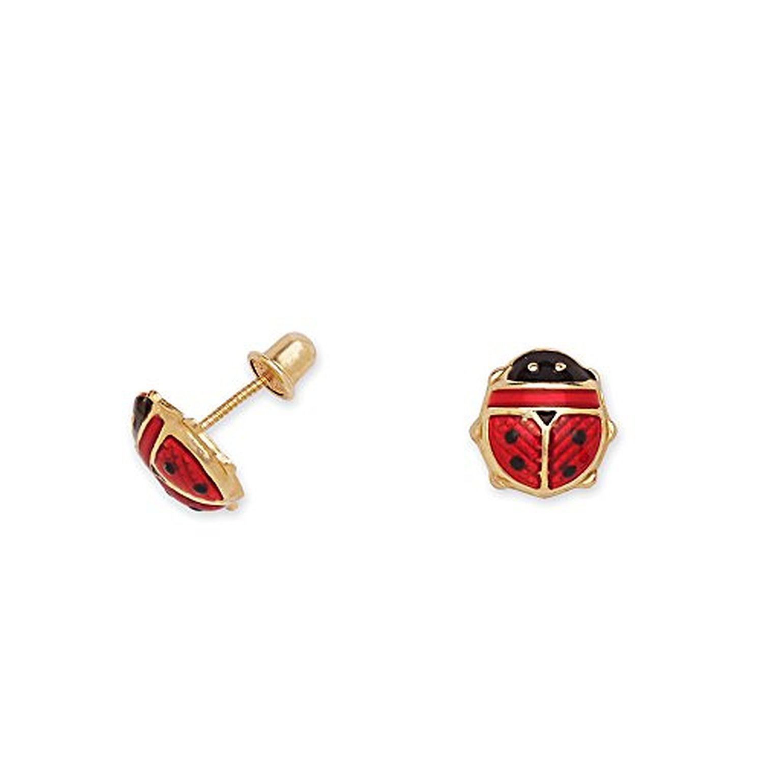 14k Yellow Gold and Pink Enamel Ladybug Baby Earrings in Secure Safety Screw-backs by Manufactured for Art and Molly