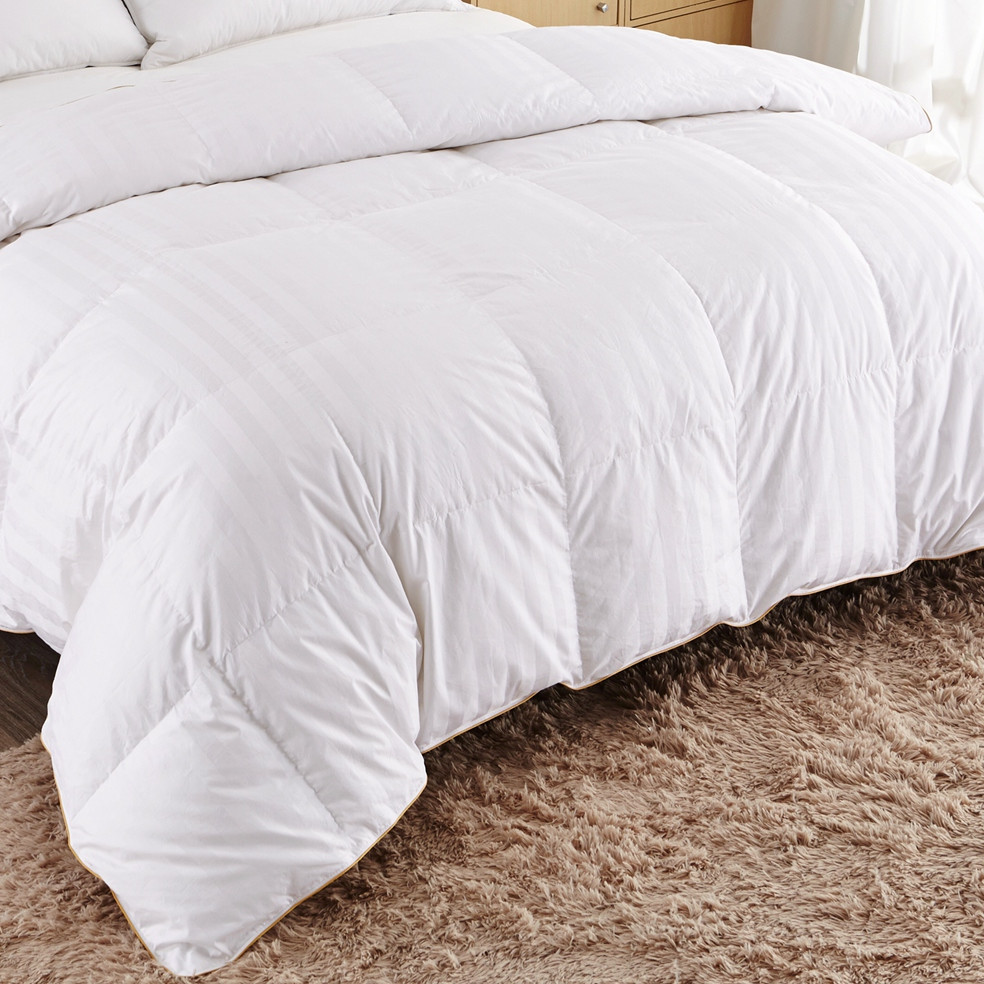 Puredown White Goose Down Comforter-Twin/Twin XL-Cotton Shell 500TC-Stripe White