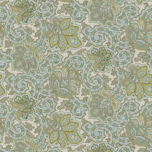 Waverly Inspirations Paisley Spa 100% Cotton Duck Fabric 45'' Wide, 180 Gsm, Quilt Crafts Cut By The Yard