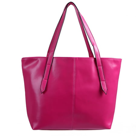 Women's Handbag Leather Carryall Tote (Pink Italian Designer Handbag)