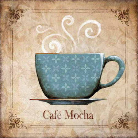 Traditional Ornate Café Mocha Coffee Cup Kitchen Painting Blue Canvas Art by Pied Piper Creative