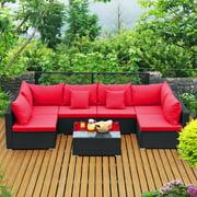 Costway 7PCS Patio Rattan Sofa Set Sectional Conversation Furniture Set Garden Navy