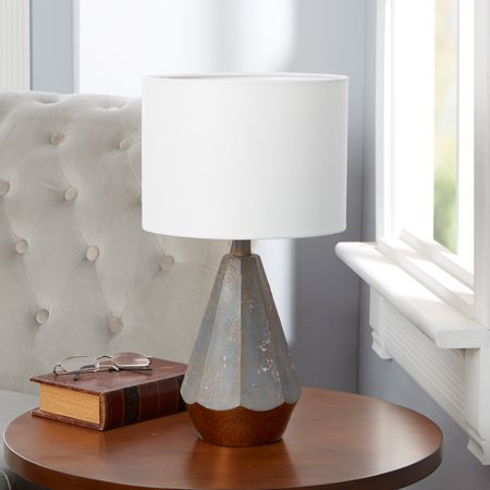 - Rustic Prism Table Lamp with Gold Accented Base, 18.5