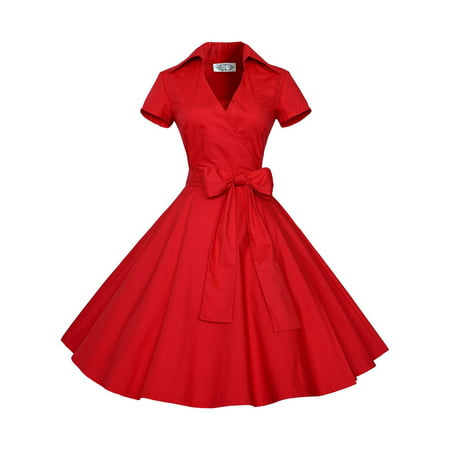 Women Vintage Dress 50S 60S Swing Pinup Retro Casual Housewife Party Ball Gown Fashion Short Sleeve Turn-down Collar Dresses - 50s Kids Fashion