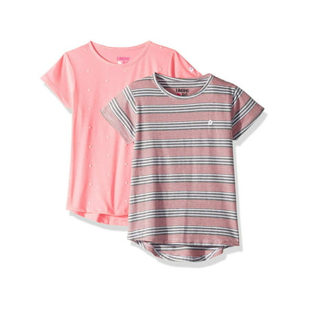 Pearl Embellished and Stripe Tees, 2-Pack (Big Girls)