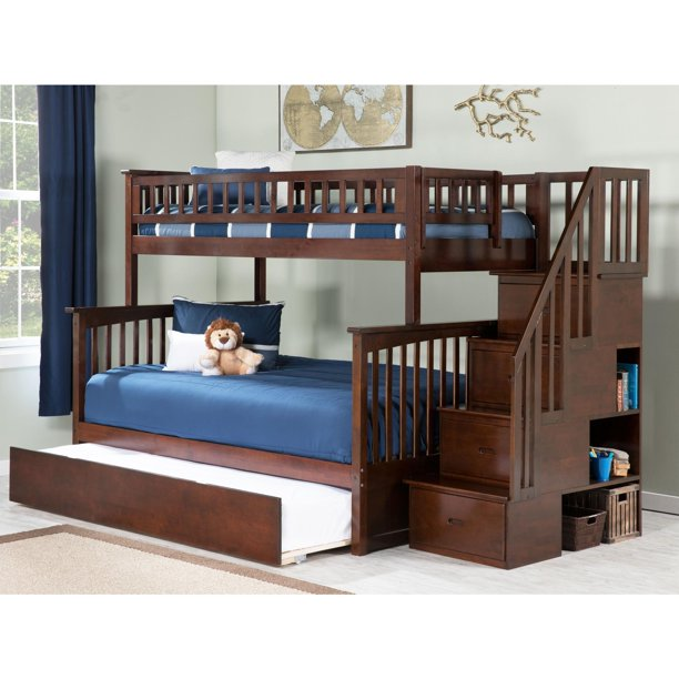 Columbia Staircase Bunk Bed Twin Over Full With Twin Size Urban Trundle Bed In Walnut Walmart Com Walmart Com