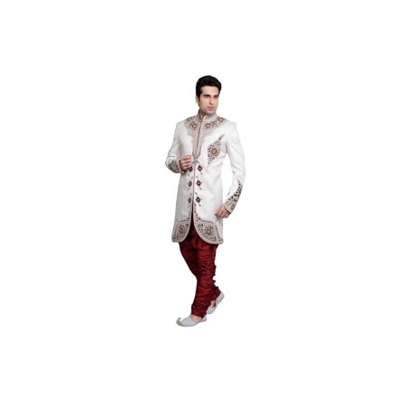 White Brocade Silk Indian Wedding Indo-Western Sherwani For Men. This product is custom made to order. - image 2 de 2